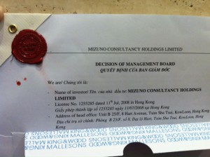ベトナム法人設立申請書類(弁護士公証済み)。