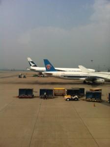 上海行きの飛行機の窓から。